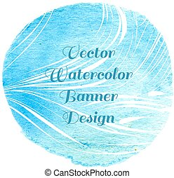 Blue watercolor circle lined