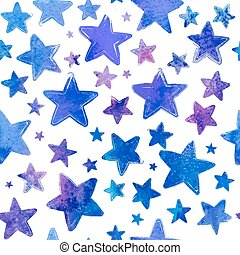 Blue watercolor painted stars vector seamless pattern