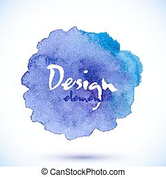 Blue watercolor painted vector isolated stain