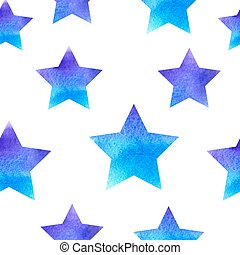 Blue watercolor pattern with stars