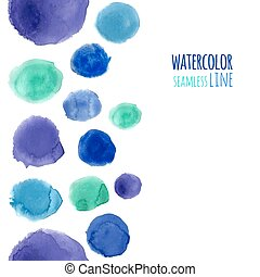 Blue watercolor seamless line