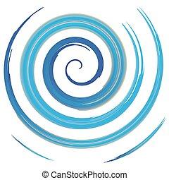 blue watercolor spiral, vector illustration