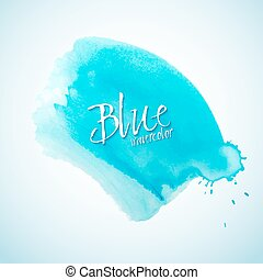 Blue watercolor splash design element