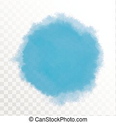 Blue watercolor spot. Vector Illustration, isolated on transparent background.