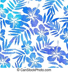 Blue watercolor vector hibiscus seamless pattern - Blue...