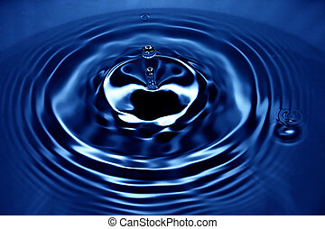 Blue waterdrop with unique reflections