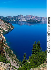 Blue Waters Along the Shore of Crater Lake