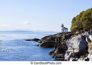Blue waters of coast of San Juan island, Washington state....