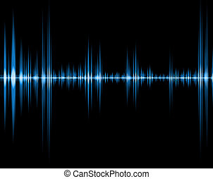 blue wave of sound isolated in black background
