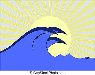 blue wave - illustration vestor wave in ocean