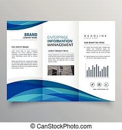 blue wave trifold business brochure design template