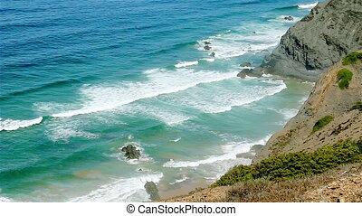 Blue waves Atlantic Ocean rocky shore Portugal