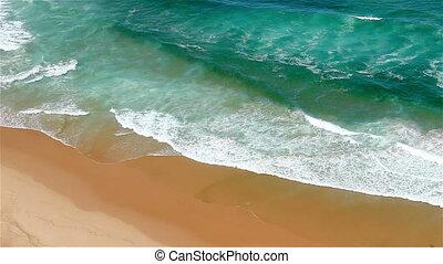 Blue waves Atlantic Ocean to shore