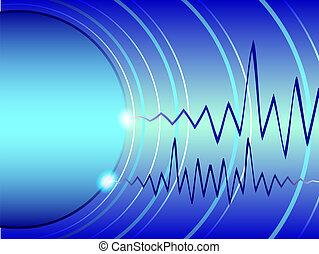 Blue waves of a radar and the dark blue cardiogram