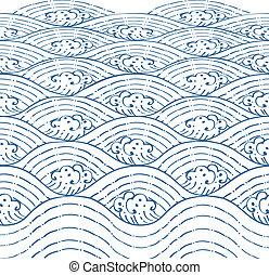 Blue waves of sea Line Thai Art Vector Illustration.