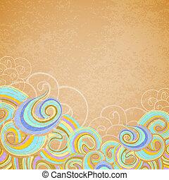 Blue waves on old paper