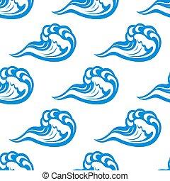 Blue waves seamless pattern on white