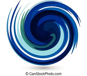 Blue waves splash water vector logo