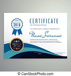 blue wavy certificate design template