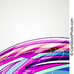 Blue wavy lines in colorful abstract background