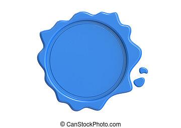 Blue Wax Seal, 3D rendering