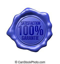 Satisfaction 100% Garantie - Blue Wax Seal - Satisfaction...