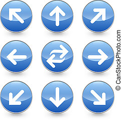 Blue web arrow vector icons