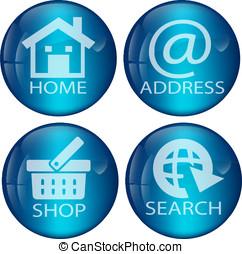 Blue Web Button Set