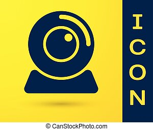 Blue Web camera icon isolated on yellow background. Chat camera. Webcam icon. Vector Illustration
