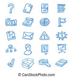 Blue web icons - Handdrawn blue web icon set on white...