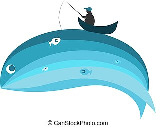 Blue whale and fisherman vector illustration
