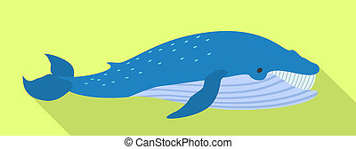 Blue whale icon, flat style
