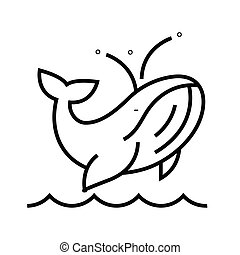 Blue whale line icon, concept sign, outline vector illustration, linear symbol.