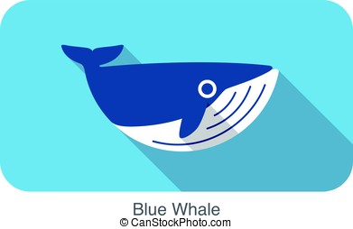 Blue Whale swimming in the sea flat icon design