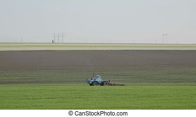 Blue wheeled tractor plowing a green field.