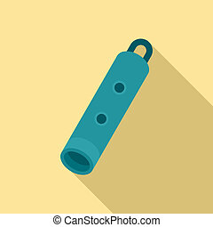 Blue whistle icon, flat style