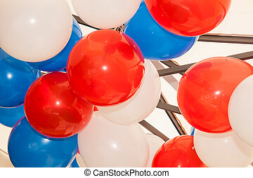 Blue White And Red Balloons