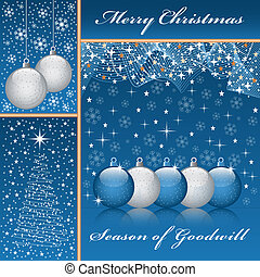 Christmas balls, xmas tree, snowflakes and stars set on a blue background.