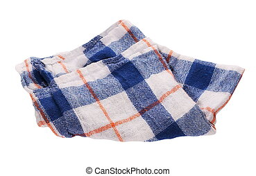 blue white checkered dishcloth, cloth isolated on white background