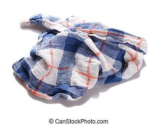 blue white checkered dishcloth