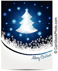 Blue white christmas greeting with bursting scribbled...