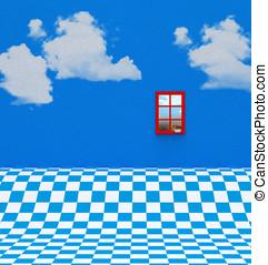 Blue White Floor and Window