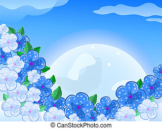 Blue White Flower In front of thee Moon In the Sky