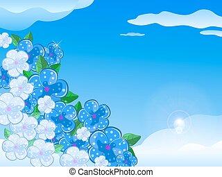 Blue White Flower In the Sky