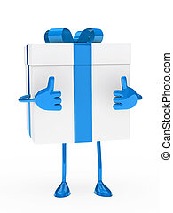 blue white gift box figure