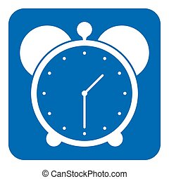 blue, white information sign - alarm clock icon