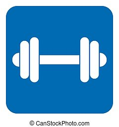 blue, white information sign - dumbbell icon