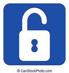 blue, white information sign - open padlock icon