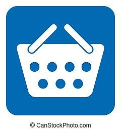 blue, white information sign, shopping basket icon