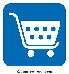 blue, white information sign - shopping cart icon